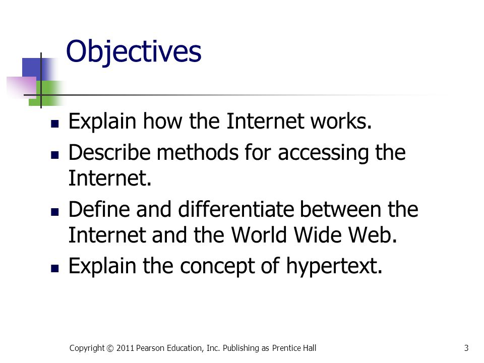 Objectives Explain how the Internet works.