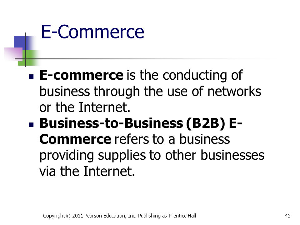 * 07/16/96. E-Commerce. E-commerce is the conducting of business through the use of networks or the Internet.