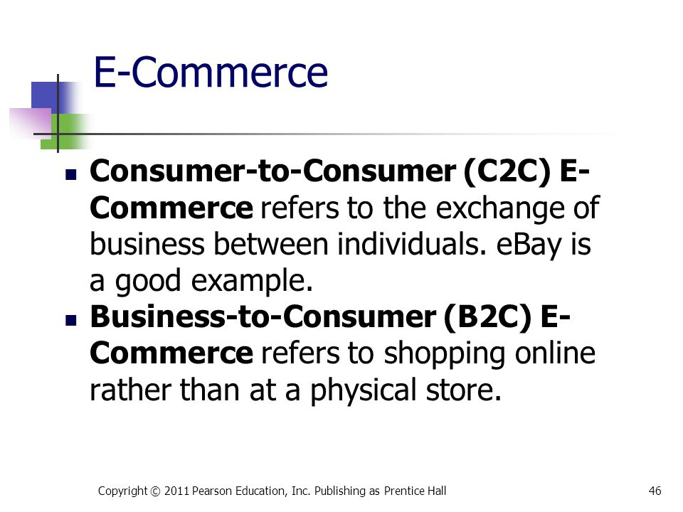 * 07/16/96. E-Commerce. Consumer-to-Consumer (C2C) E-Commerce refers to the exchange of business between individuals. eBay is a good example.