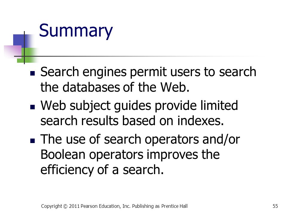 * 07/16/96. Summary. Search engines permit users to search the databases of the Web.
