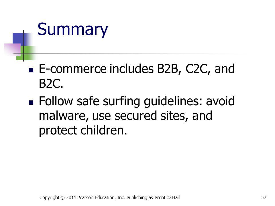 Summary E-commerce includes B2B, C2C, and B2C.