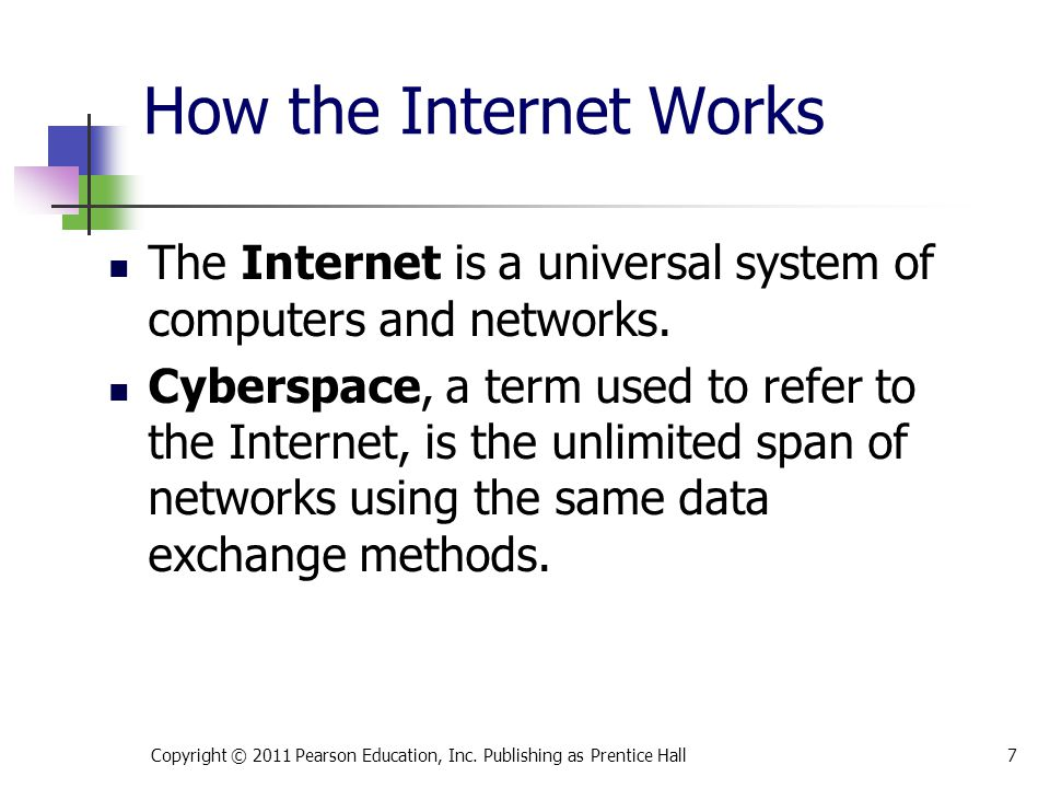 * 07/16/96. How the Internet Works. The Internet is a universal system of computers and networks.