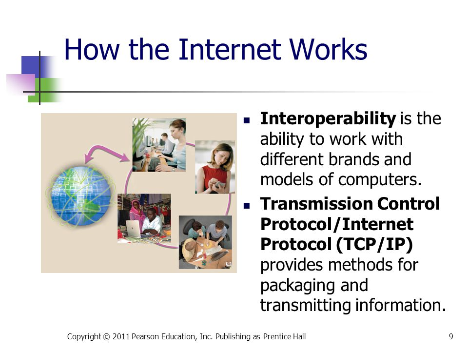 * 07/16/96. How the Internet Works. Interoperability is the ability to work with different brands and models of computers.