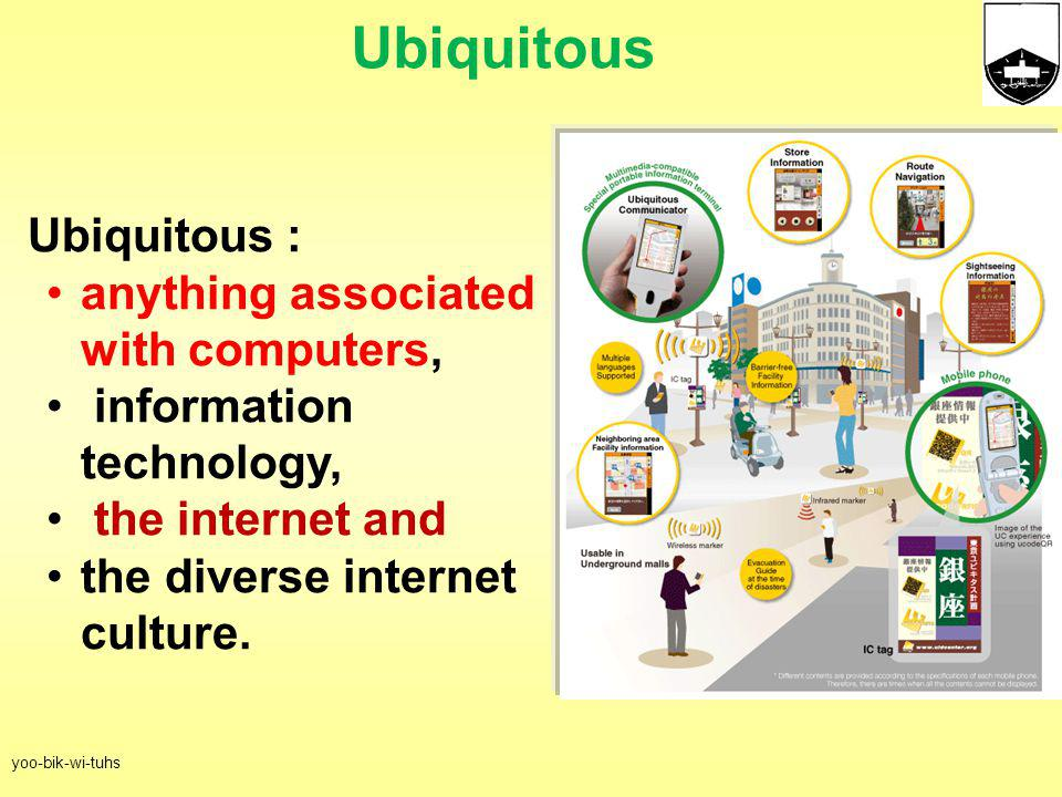Ubiquitous Ubiquitous : anything associated with computers,