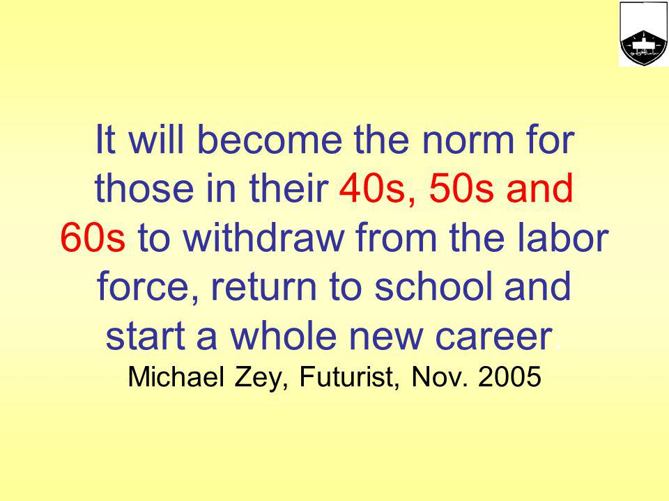 It will become the norm for those in their 40s, 50s and 60s to withdraw from the labor force, return to school and start a whole new career. Michael Zey, Futurist, Nov. 2005