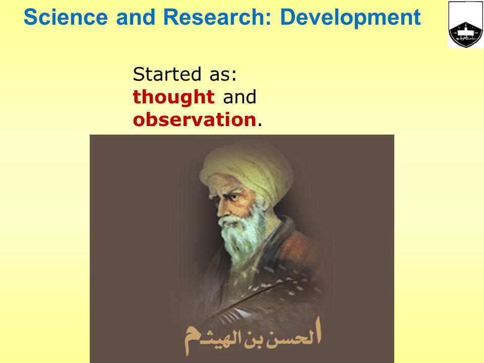 Science and Research: Development