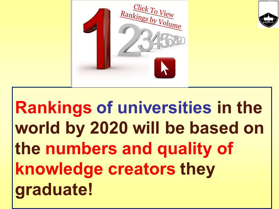 Rankings of universities in the world by 2020 will be based on the numbers and quality of knowledge creators they graduate!
