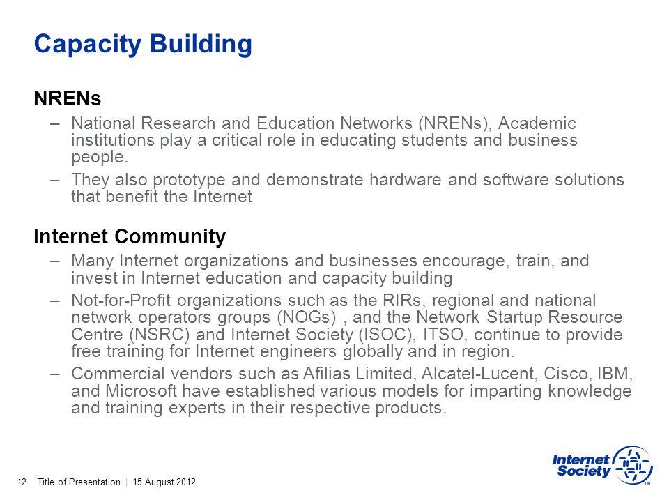 Capacity Building NRENs Internet Community