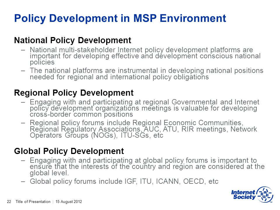 Policy Development in MSP Environment