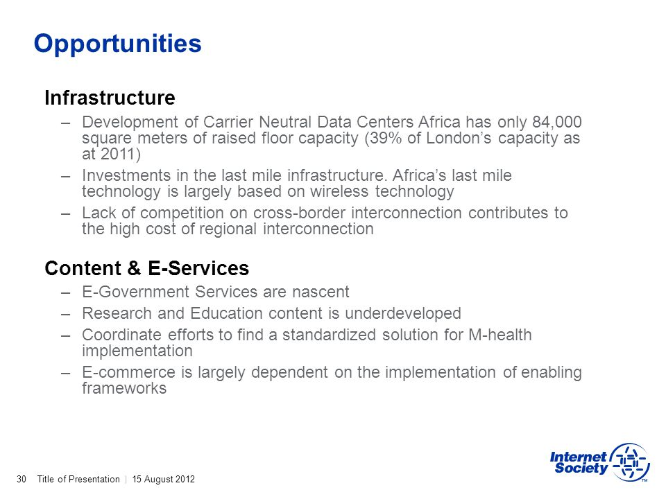 Opportunities Infrastructure Content & E-Services