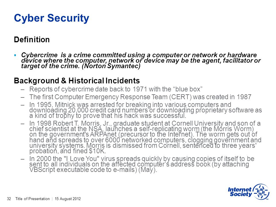 Cyber Security Definition Background & Historical Incidents