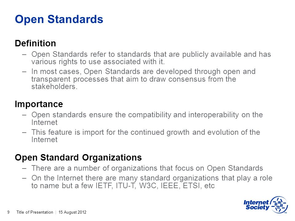 Open Standards Definition Importance Open Standard Organizations