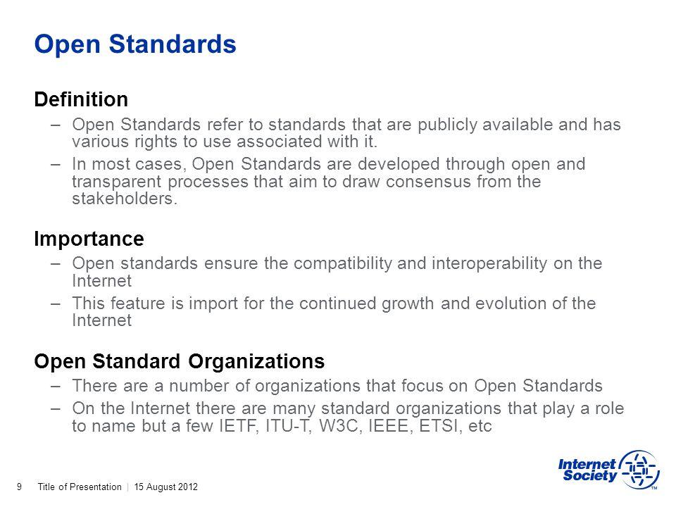 Open Standards Definition Importance Open Standard Organizations