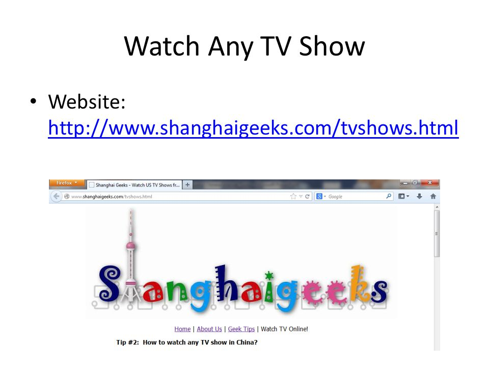 Watch Any TV Show Website: http://www.shanghaigeeks.com/tvshows.html
