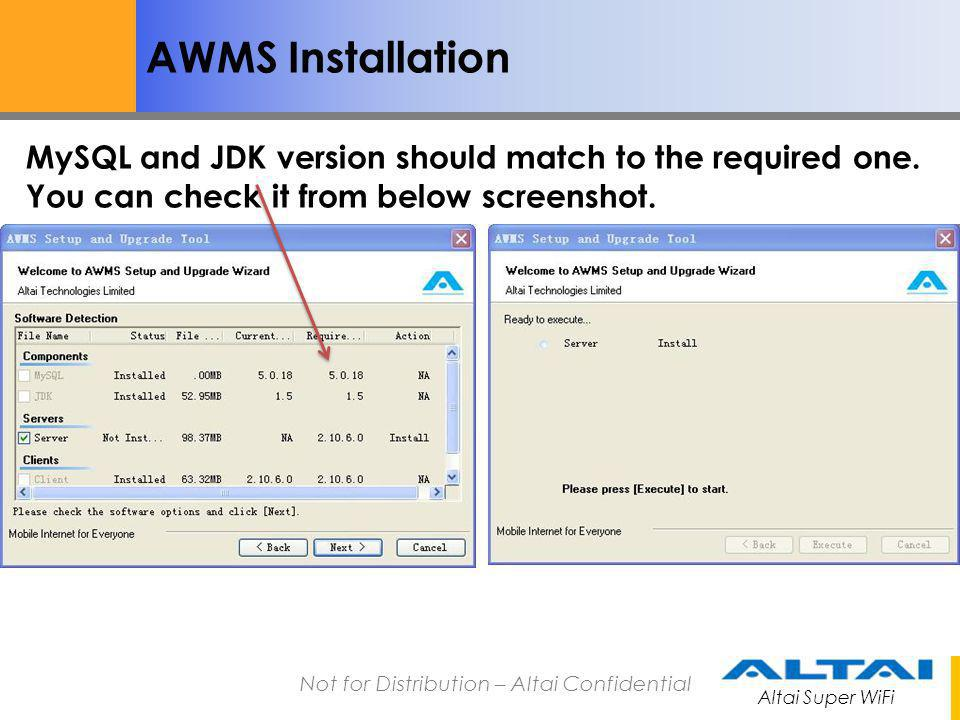 AWMS Installation MySQL and JDK version should match to the required one.