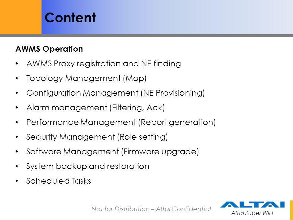 Content AWMS Operation AWMS Proxy registration and NE finding