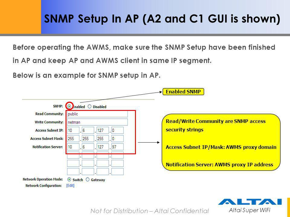 SNMP Setup In AP (A2 and C1 GUI is shown)