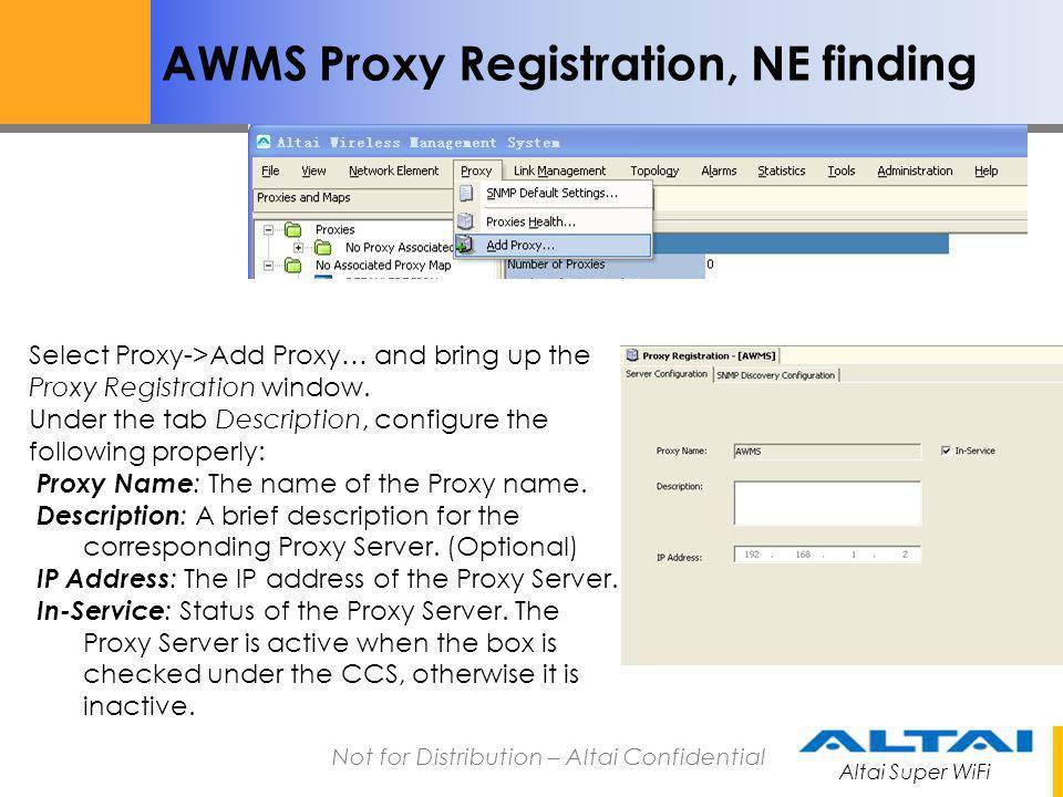 AWMS Proxy Registration, NE finding