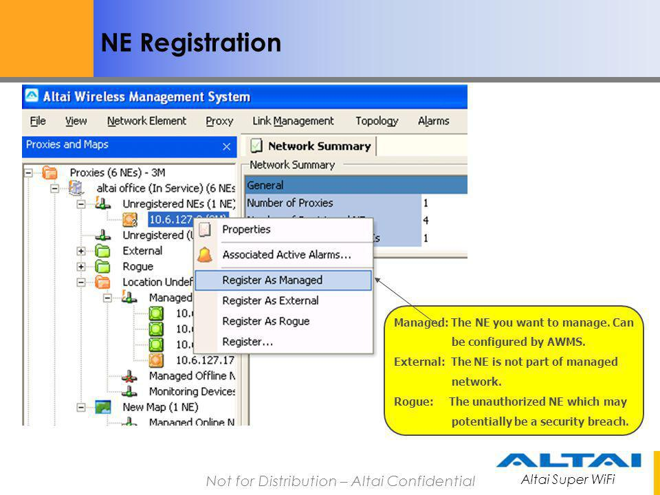 NE Registration Managed: The NE you want to manage. Can