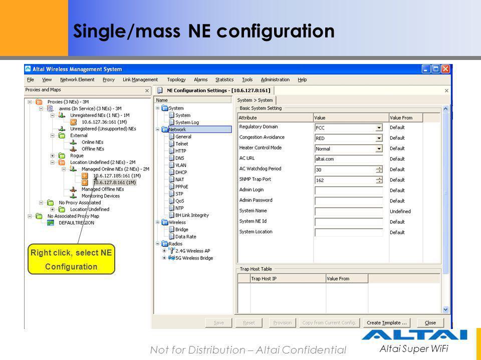 Right click, select NE Configuration