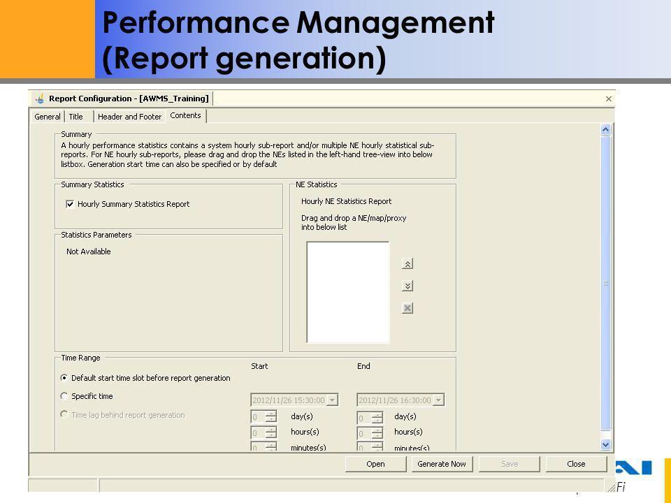 Performance Management (Report generation)