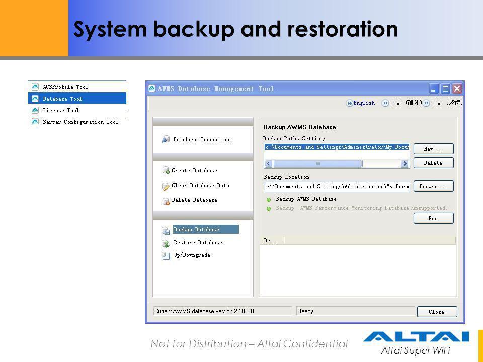 System backup and restoration