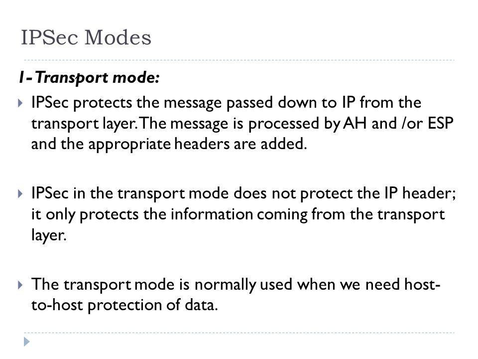 IPSec Modes 1- Transport mode: