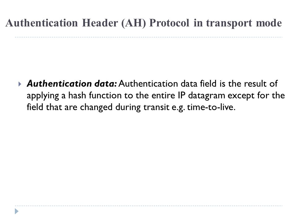 Authentication Header (AH) Protocol in transport mode