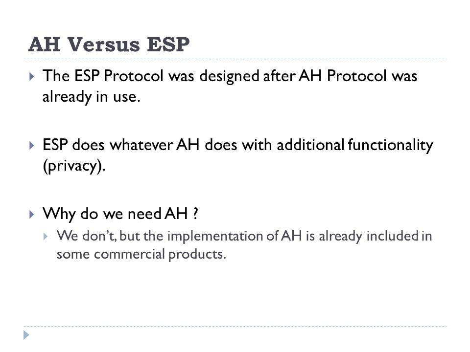 AH Versus ESP The ESP Protocol was designed after AH Protocol was already in use.
