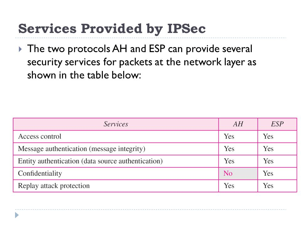 Services Provided by IPSec
