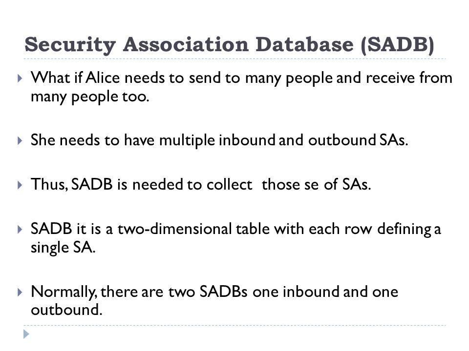 Security Association Database (SADB)