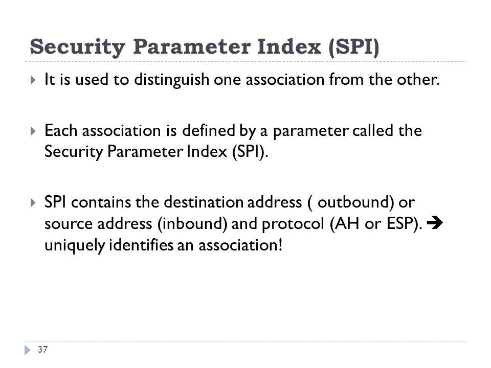 Security Parameter Index (SPI)