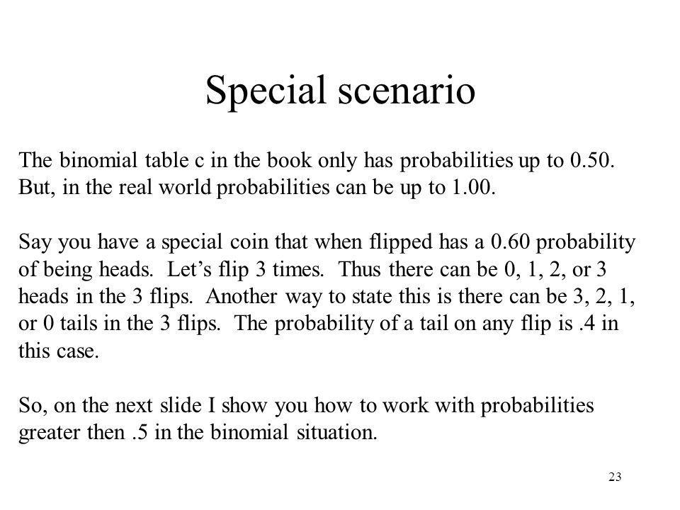 Special scenario The binomial table c in the book only has probabilities up to 0.50. But, in the real world probabilities can be up to 1.00.
