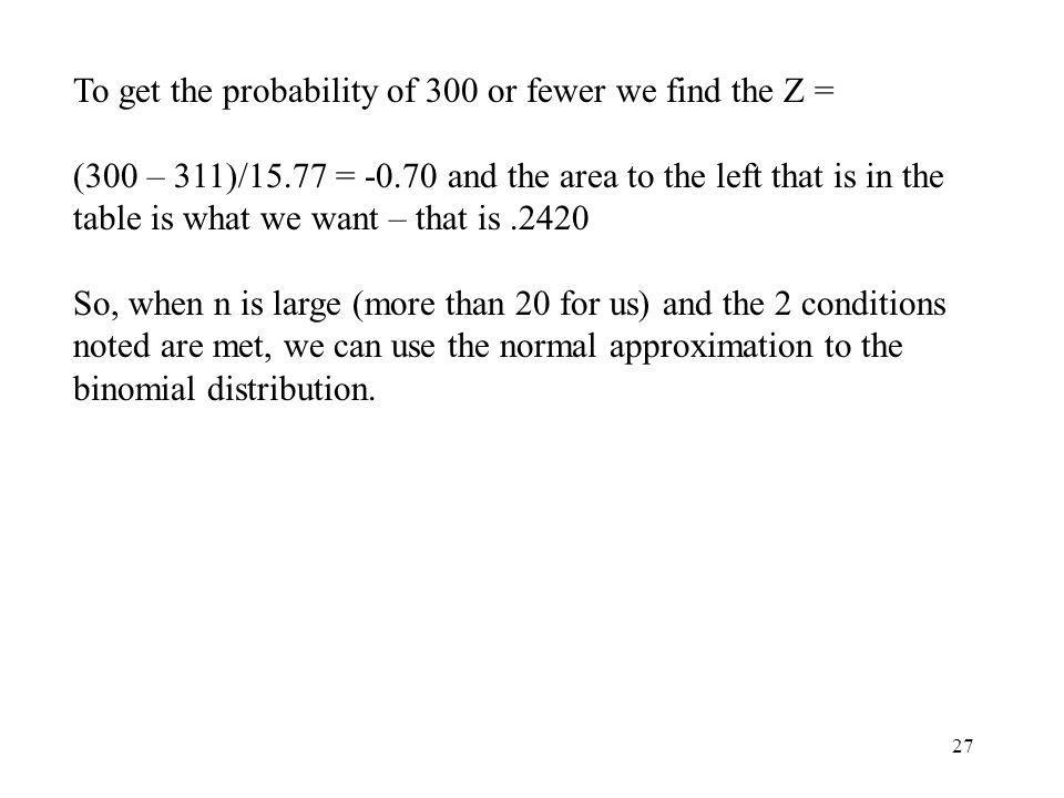 To get the probability of 300 or fewer we find the Z =