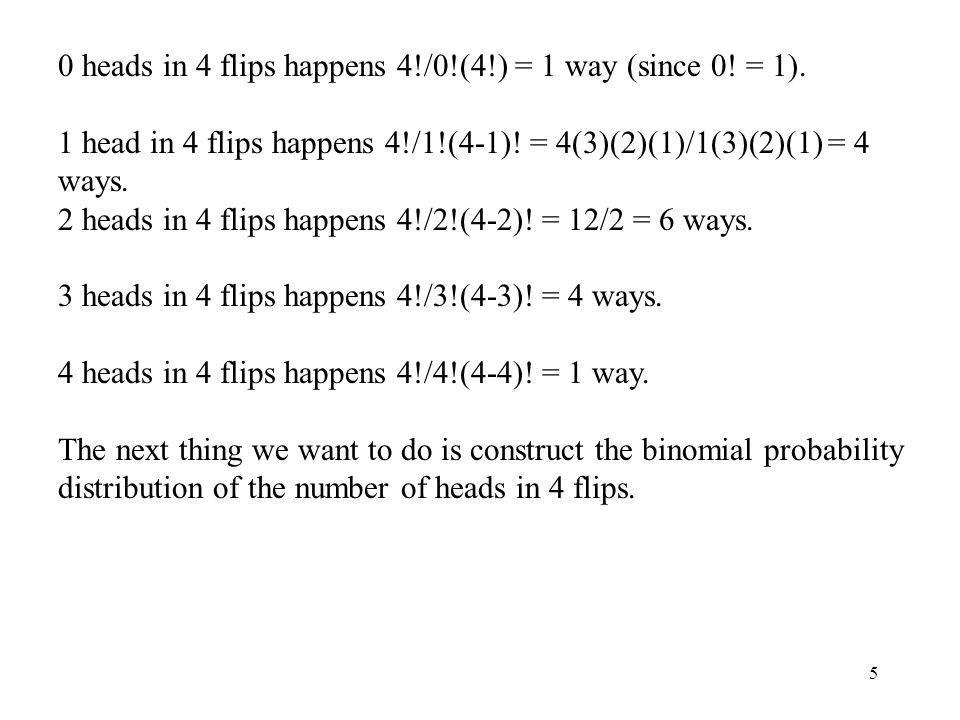 0 heads in 4 flips happens 4!/0!(4!) = 1 way (since 0! = 1).