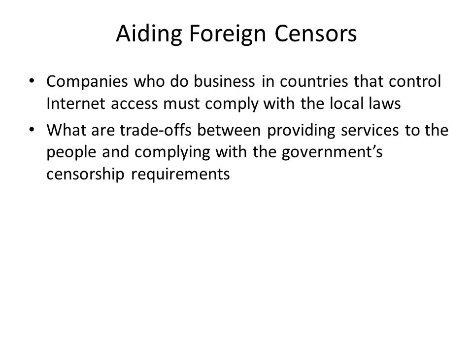 Aiding Foreign Censors