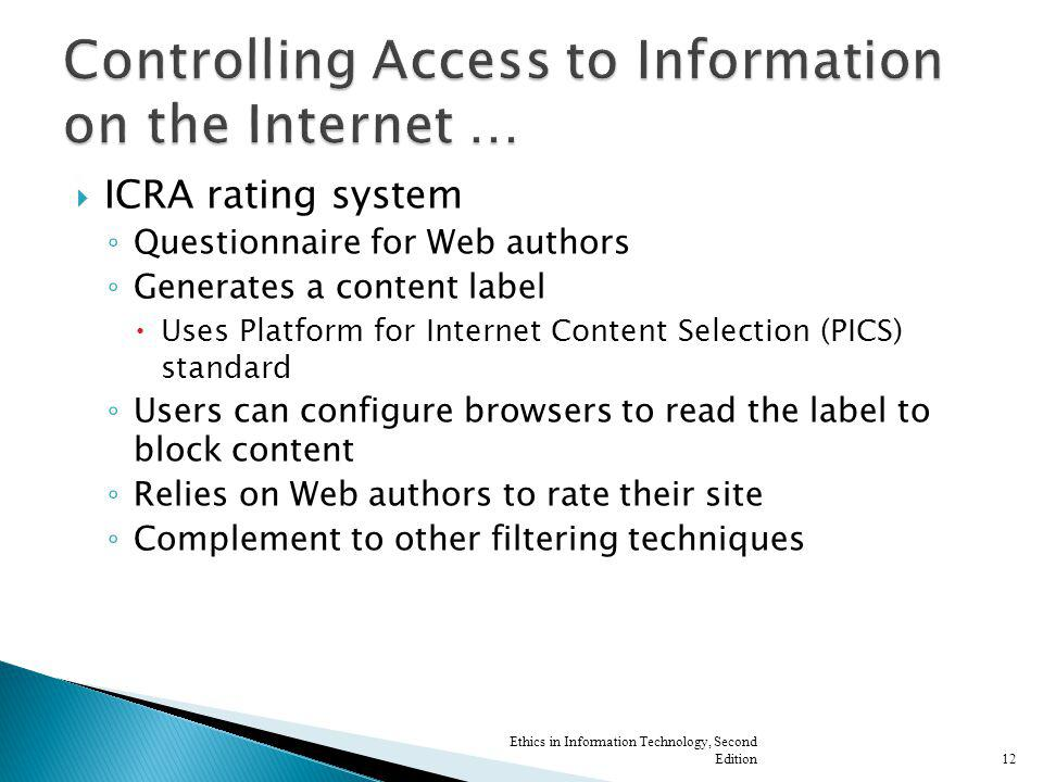 Controlling Access to Information on the Internet …