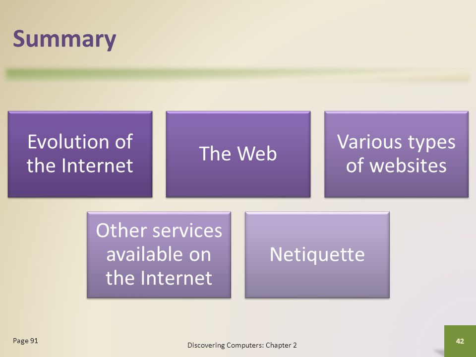 Summary Evolution of the Internet The Web Various types of websites