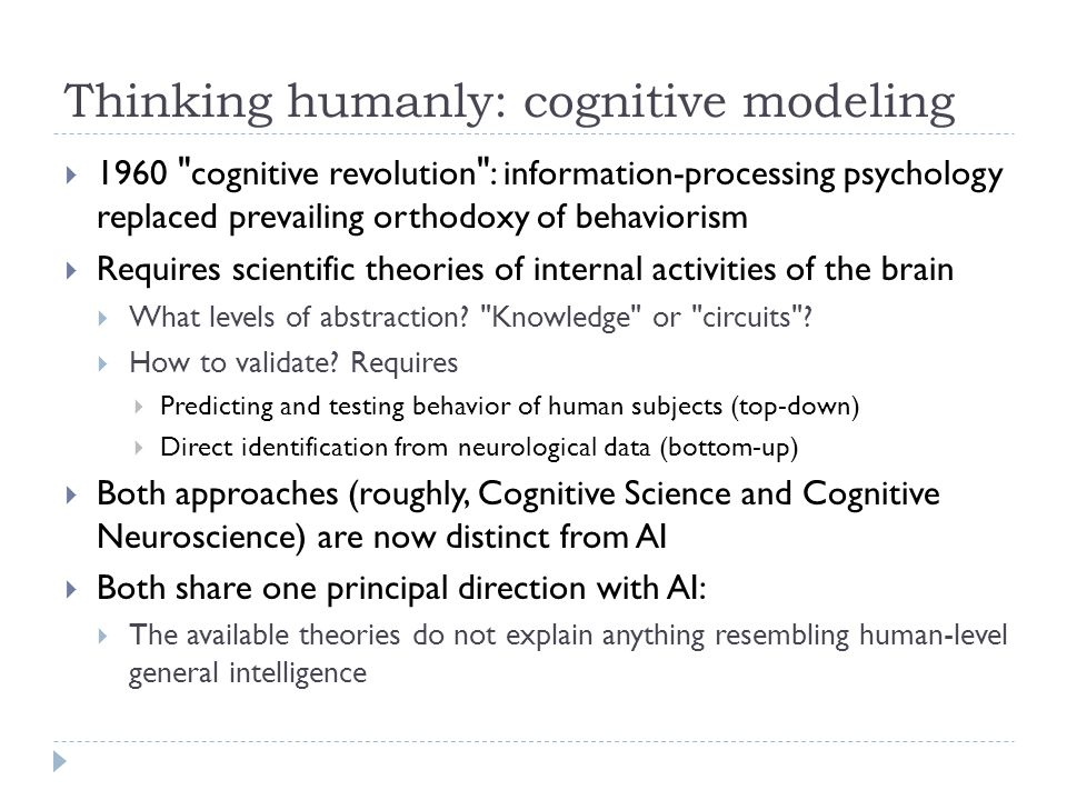 Thinking humanly: cognitive modeling