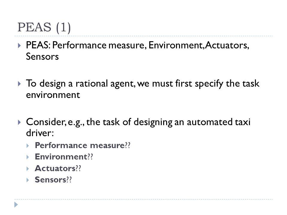 PEAS (1) PEAS: Performance measure, Environment, Actuators, Sensors
