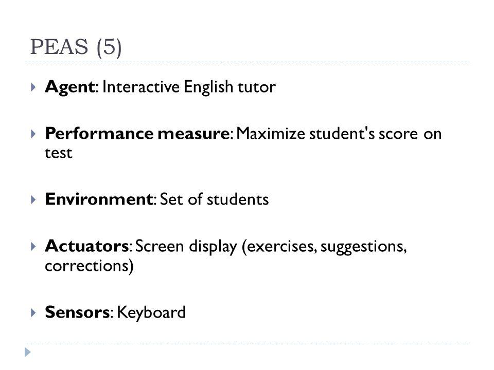 PEAS (5) Agent: Interactive English tutor