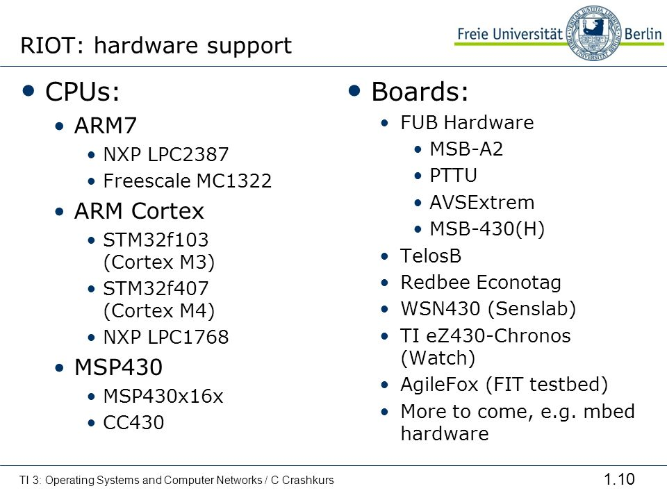 RIOT: hardware support