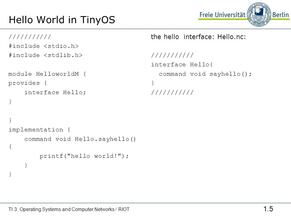 Hello World in TinyOS