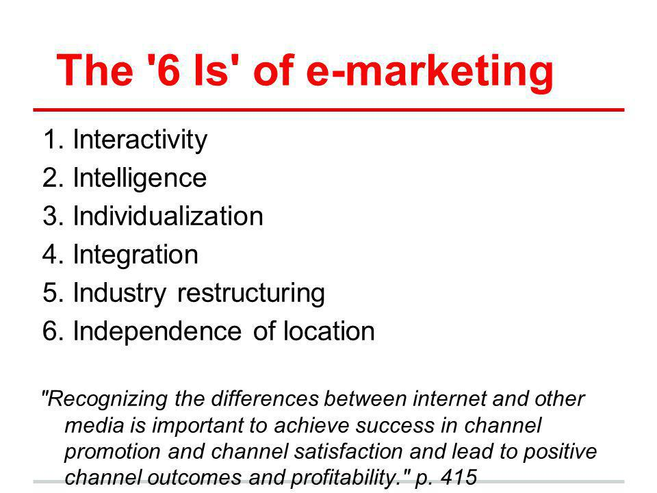 The 6 Is of e-marketing Interactivity Intelligence Individualization