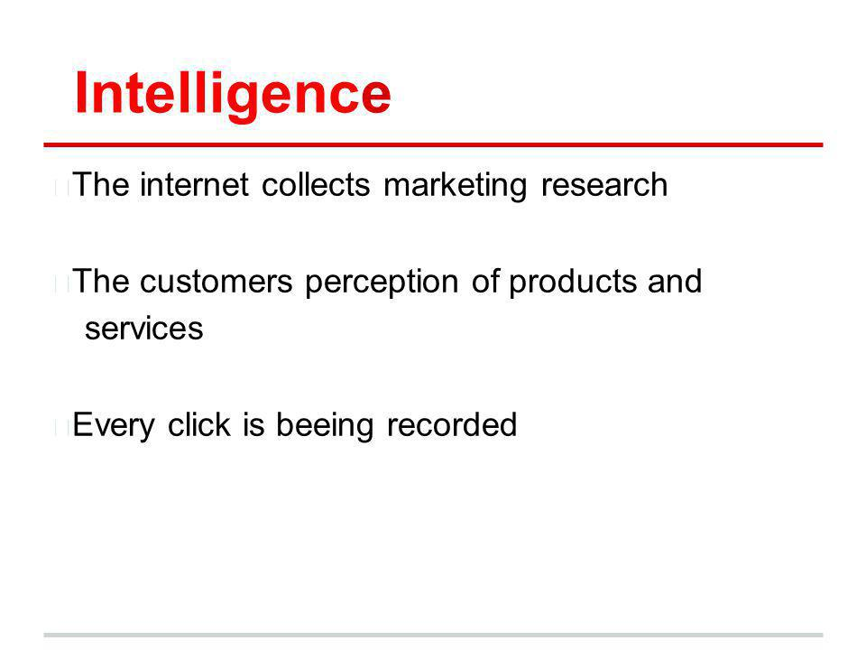 Intelligence —The internet collects marketing research