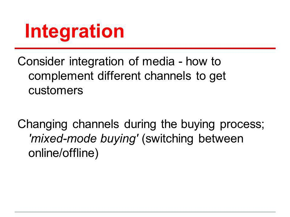 Integration Consider integration of media - how to complement different channels to get customers.