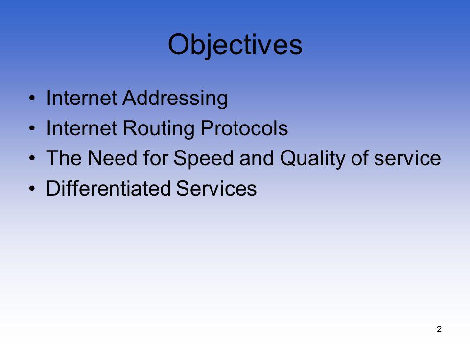 Objectives Internet Addressing Internet Routing Protocols
