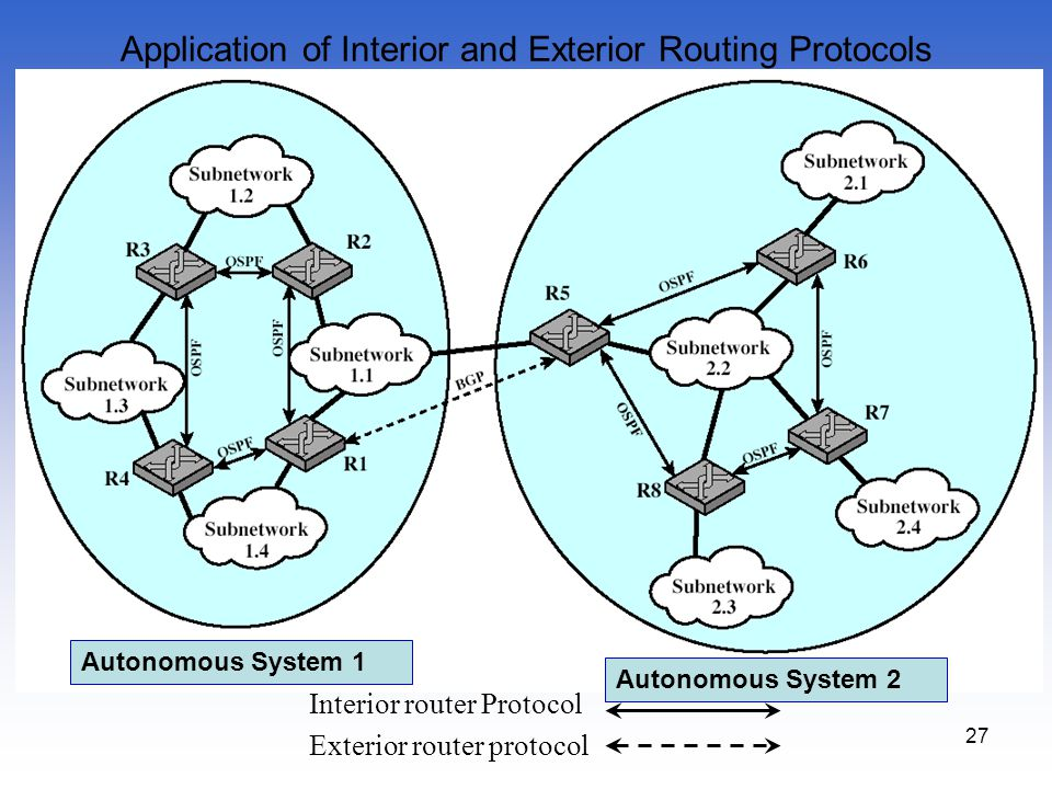 Application of Interior and Exterior Routing Protocols