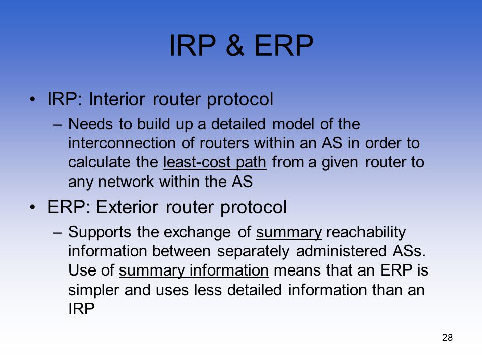 IRP & ERP IRP: Interior router protocol ERP: Exterior router protocol