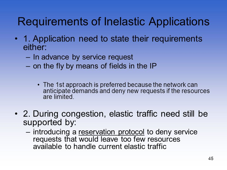 Requirements of Inelastic Applications